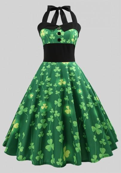 Green Shamrock Buttons Pleated Shoulder Strap Halter Neck St. Patrick's Day Party Midi Dress