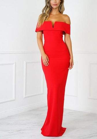 Red Cut Out Zipper V-neck Short Sleeve Maxi Dress