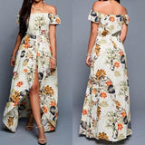 Beige Floral Irregular Off Shoulder Chiffon Bohemian Romper with Maxi Overlay Dress