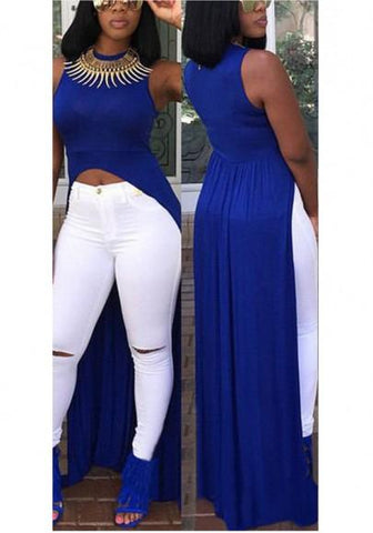 Sapphire Blue Draped Zipper Midriff High-Low High Waisted Clubwear Party Maxi Dress