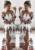White Floral Side Slit Off Shoulder Boat Neck Boho Fashion Maxi Dress