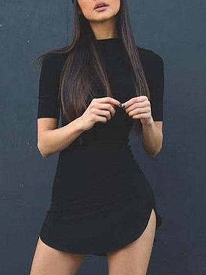 Black Curved Hem Short Sleeve Dress