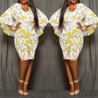 Yellow Floral African Tribal Print Chiffon Cape Cloak Bodycon Plus Size Club Party Skinny Pencil Midi Dress