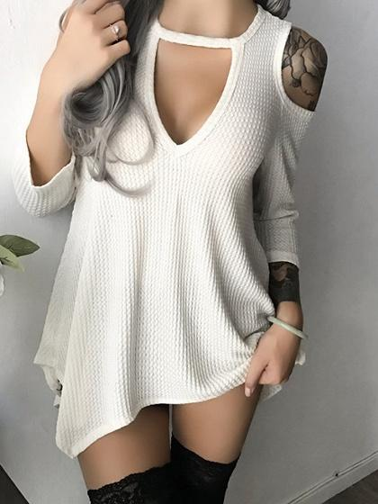 White Plunge Cold Shoulder Asymmetric Hem Mini Dress