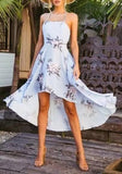Light Blue Floral Draped Irregular Tie Back Backless High-low Beach Bohemian Midi Dress