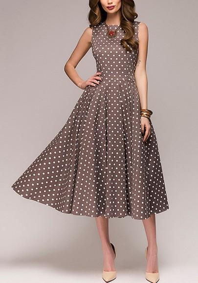 Brown Polka Dot Draped Tutu Round Neck Elegant Party Midi Dress