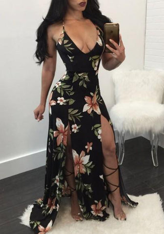 Black Floral Print Deep V-neck Cross Back Double Slit Elegant Maxi Dress