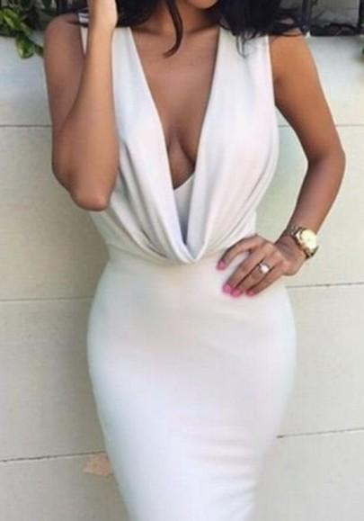 White Plain Irregular Plunging Neckline Polyester Midi Dress