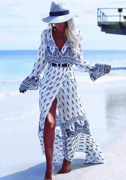 Blue-White Bohemian Floral Print Irregular Sashes Front Slit Boho Maxi Dress