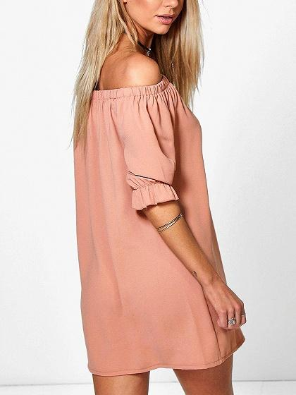 Pink Off Shoulder Button Placket Mini Dress
