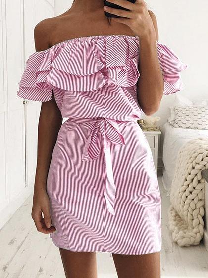 Pink Striped Off Shoulder Layered Ruffle Tie Waist Dress