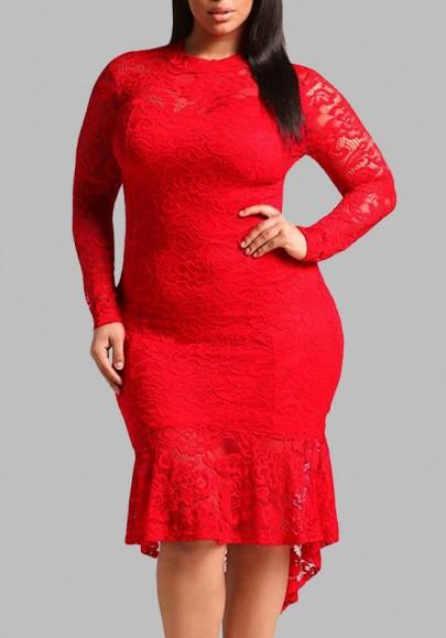 Red Lace Cut Out Pleated High-low Plus Size Long Sleeve Party Midi Dress