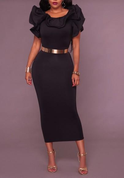 Black Ruffle Belt Chain Slit Bodycon Banquet Elegant Party Midi Dress
