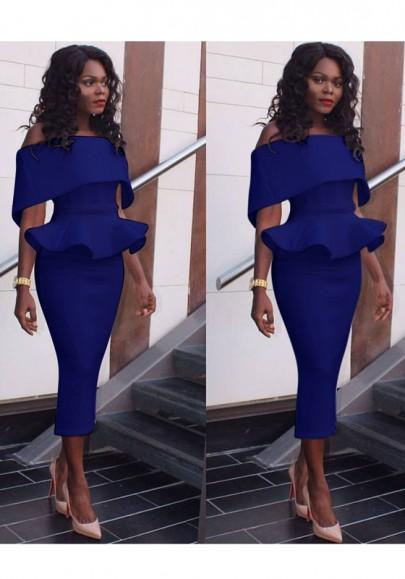 Blue Plain Bandeau Peplum Plus Size Off Shoulder Pencil Bodycon Midi Dress