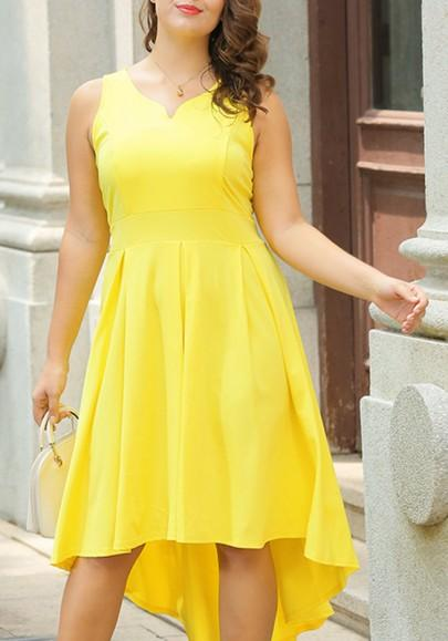 Yellow Irregular Draped Plus Size High-low Homecoming Swallowtail Party Midi Dress
