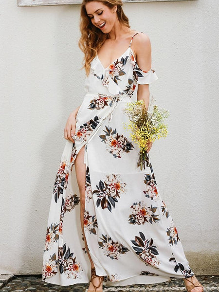 Pretty White Bohemia Off Shoulder Spaghetti Straps Deep V Neck Split Maxi Dress