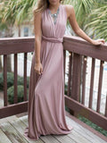 Pretty Sexy Solid Color Deep V Neck Off-Back Lace-Up Maxi Dress