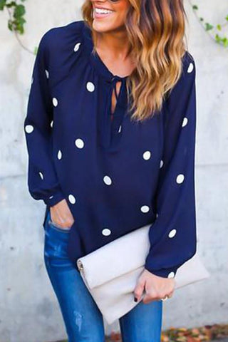 Dot Printing Lace-up Shirts