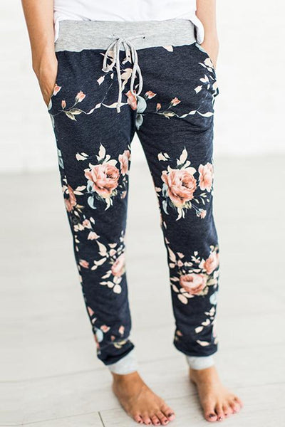 Floral Printing Essential To Stay At Home Casual Pants