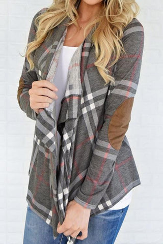 Warm Your Lattice Print Cardigan
