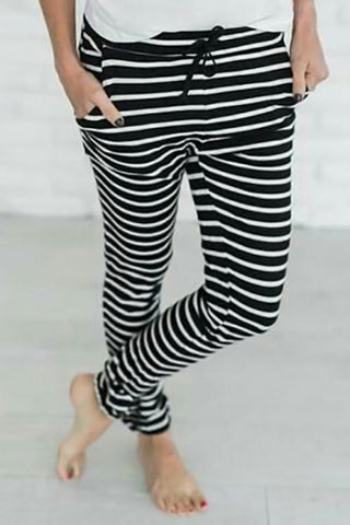 Blending Striped Drawstring Mid Pants