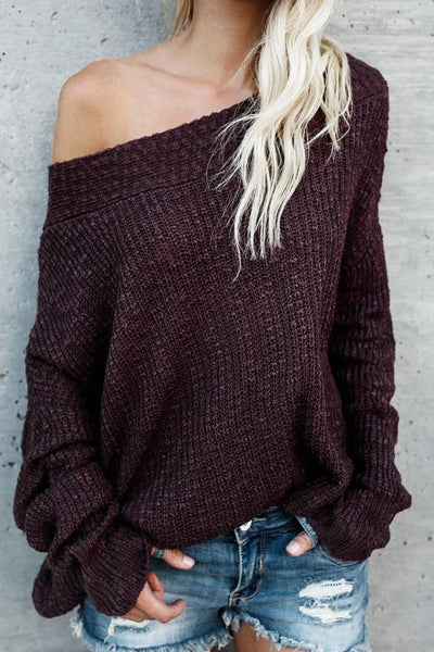 Loose Dew Shoulder Sweaters
