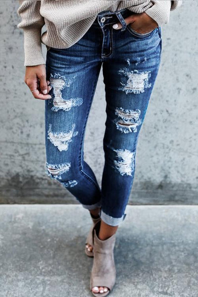 Street Style Solid Vintage Holes Zipper Fly Mid Skinny Ripped Jeans