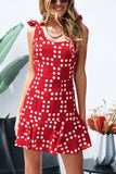 Lamoon No Telling Red Polka Dot Mini Dress