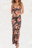 Gray Date Night Floral Maxi Dress