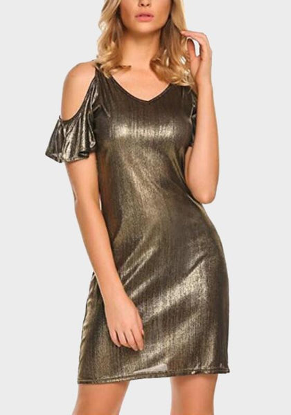 Golden Cut Out V-neck Bronzing Short Sleeve Prom Evening Party Mini Dress