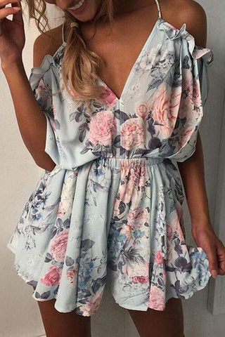 Lace Up Flower Print Romper