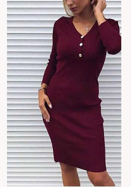 Burgundy Plain Buttons V-neck Going out Midi Dress