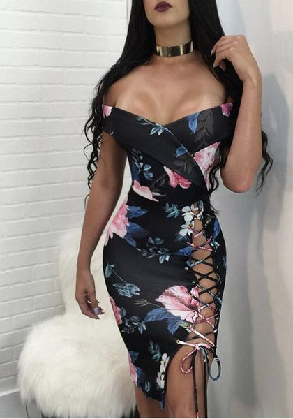 Black Flowers Print Irregular Lace-up Side Slit Off Shoulder Mini Dress