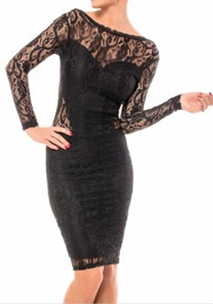 Black Patchwork Hollow-out Lace Backless Round Neck Midi Dress