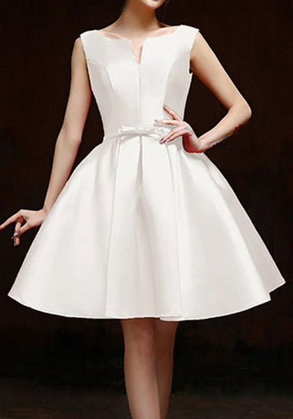 White Pleated Bow Backless Lace-up V-neck Sleeveless Fashion Homecoming Midi Dress