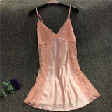 Pink Patchwork Lace Hollow-out Grenadine See-through Deep V Mini Dress