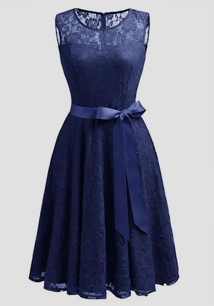 Navy?Blue Patchwork Lace Draped Bow Belt Sleeveless Elegant Midi Dress