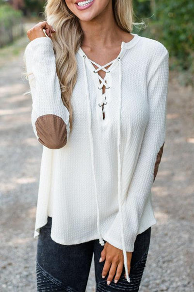 V Neck Lace Up Long Sleeve Sweaters