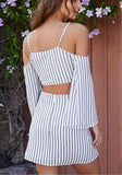 Grey Striped Condole Belt 2-in-1 Zipper Plunging Neckline Mini Dress