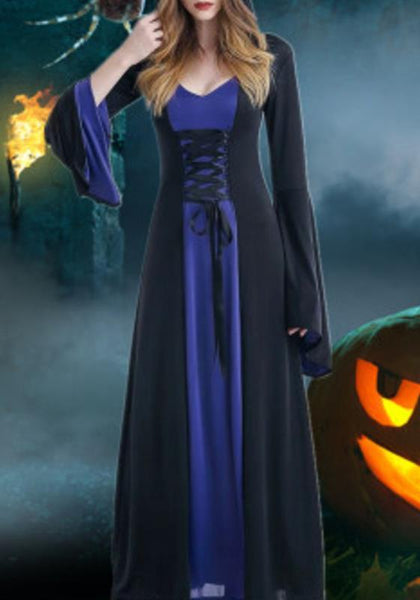Black-Blue Patchwork Draped Drawstring Novelty Halloween Party Maxi Dress
