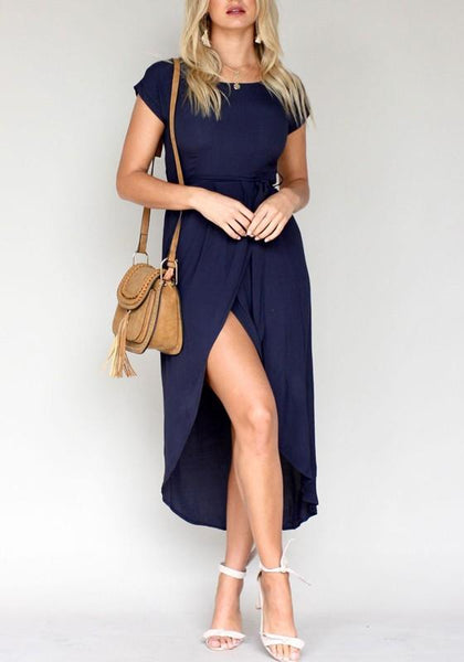 Navy Blue Irregular Sashes High-low Elegant Office Worker Maxi Dress