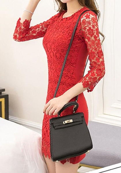 Red Patchwork Hollow-out Lace Round Neck Mini Dress