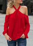 Hang Neck Zipper Design Red Top