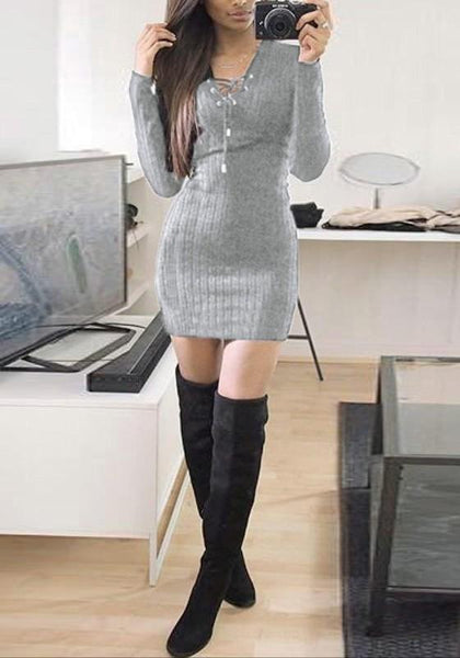 Grey Lace-up Bodycon V-neck Long Sleeve Sweater Party Mini Dress
