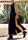 Black Plain Condole Belt Tie Back Backless Plunging Neckline Maxi Dress