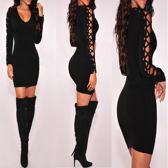 Black Plain Hollow-out Lace-up Long Sleeve Bodycon Mini Dress