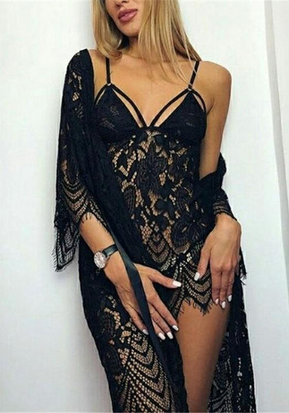 Black Floral Lace Cut Out Sashes 2-in-1 Fashion Midi Dress