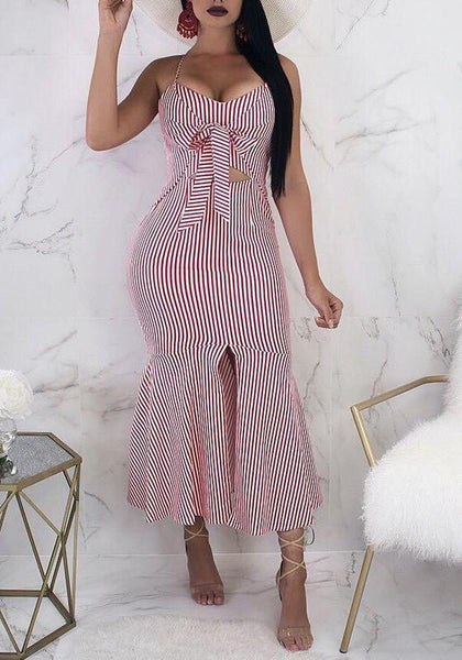Pink-White Striped Cut Out Slit Mermaid Spaghetti Strap Party Maxi Dress