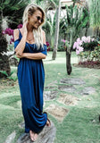 Navy Blue Cut Out Round Neck Short Short Sleeve Casual Maxi Dress