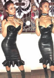 Black Ruffle Peplum Spaghetti Strap Clubwear Bodycon Latex Mini Dress